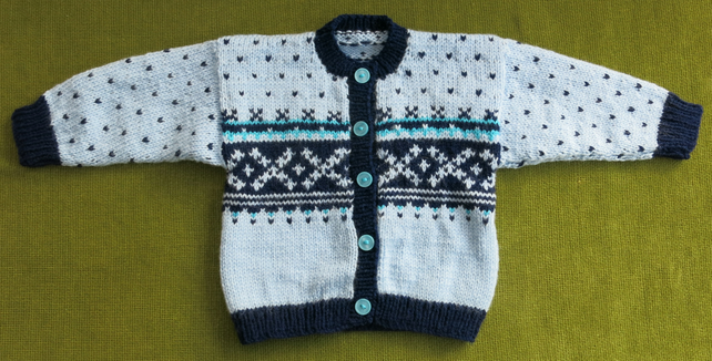 Classic Nordic Style Cardigan with Navy and Blues. For 18-24 months.