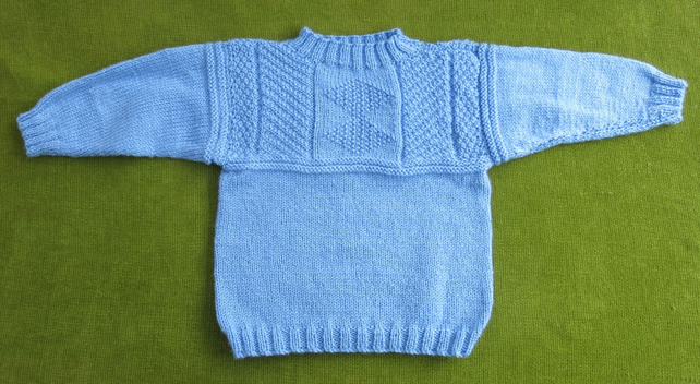 Lovely Blue Jumper withGuernsey Style Yoke for age 3-4 years.