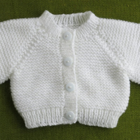 Cute and Tiny, Pure White Cardigan, Perfect for your Newborn Baby.