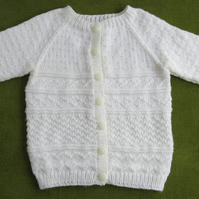 Natural Creamy White Guernsey Style Cardigan. For 4-5 years.