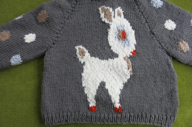 Fun Grey Jumper with a Deer Motif!  for 12-18months.