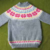 Cosy Nordic Style Jumper in Grey, Pink and Multi. For ages 3-4 years.