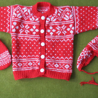 Red & White Nordic Style Cardigan, Hat & Mitts Set. For 12-18 months.