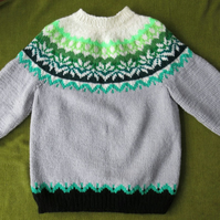 Cosy Nordic Style Jumper in Grey with Greens. For ages 5-6 years.
