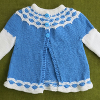 Pretty Flared Jacket in Blue and White, with Lace. For 18-24 months.