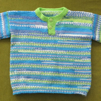 Gorgeous Bright Jumper in greens and Blues. Age 4 years.
