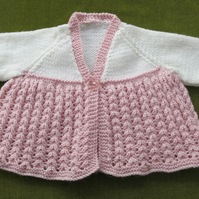 Cute Cream & Pale Rose Pink Matinee coat for  3-6 months.