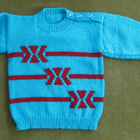 Gorgeous, Bright, Retro Style Jumper in Teal Blue & Russet Red. Age 3-4 years.