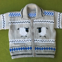 "Cute ""Sheep"" Cardigan-Jacket in Grey, with Blue, Black & White. Age 3-4 years."