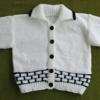 Striking Cardigan-Jacket in White & Navy. Age 18 -24 months.