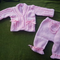 Pretty in Pink, Fancy Knickerbocker Set. Cardi, Leggings, 3-6 months