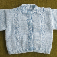 Sweet Pale Blue Cardigan with Cable Pattern. For age 6-12 months