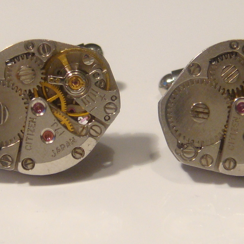 17 Jewel Japanese Watch Movement Cufflinks ideal gift for the steampunk lover