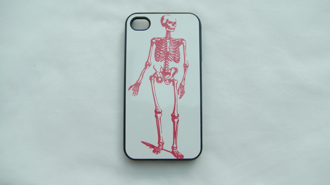 Iphone case with personalised Red Skeleton