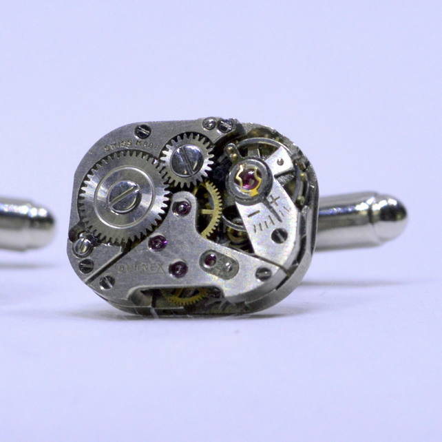 Steampunk Cufflinks with swis watch movements and silver cufflinks 167