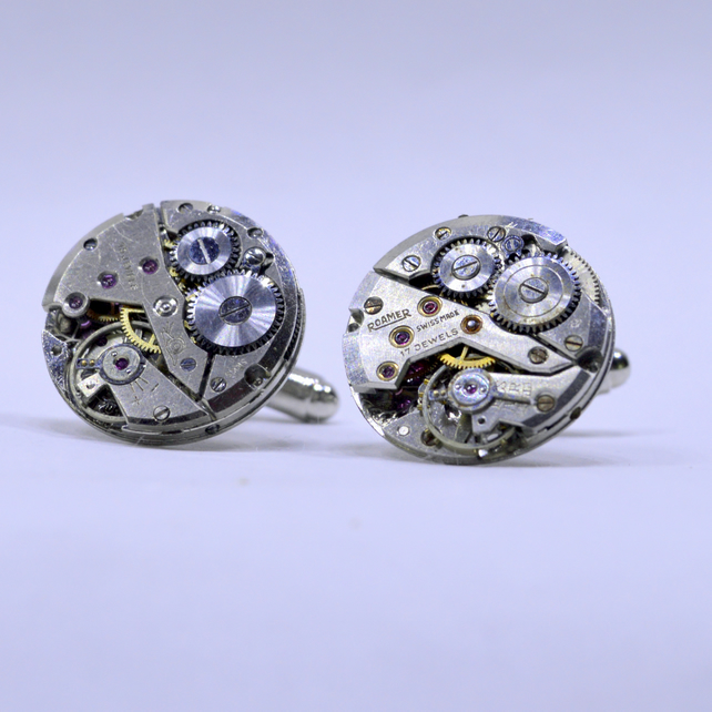 Watch Cufflinks with round Swiss watch movements and silver cufflinks 169