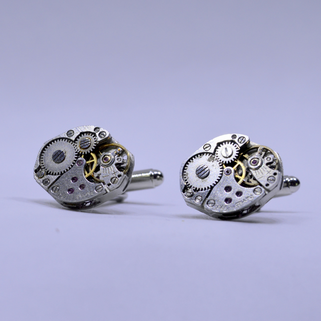 Cufflinks with silver Watch Movements from Swiss Watches 170