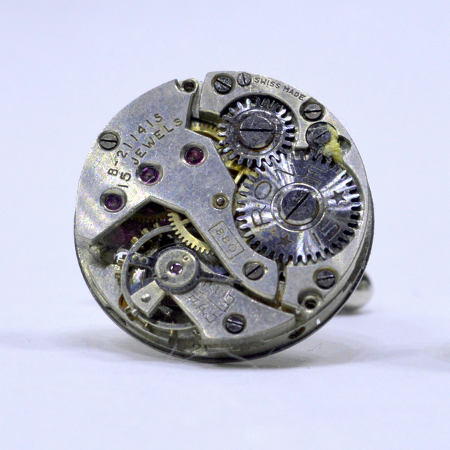 Watch Cufflinks with Swiss watch movements and silver cufflinks 161