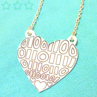 Binary Heart Pendant - LOVE in Binary!