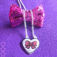 Heart Pendant - Little Purple Bow