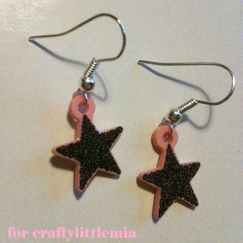 *Custom listing for CraftyLittleMia* Unique Mini Doodle Star Earrings