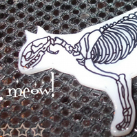 Halloween - Skeleton Cat Brooch