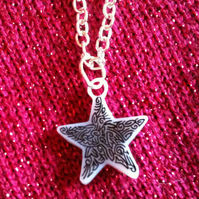 Unique Mini Doodle Star Pendant