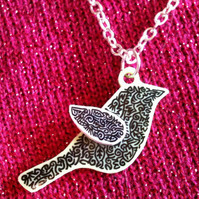 Unique Doodle Bird Pendant - Pastel Green and White