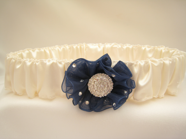 Luxury Navy Blue Wedding garter With Swarovski Sparkle