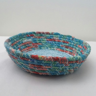 Teal Coiled Fabric Bowl