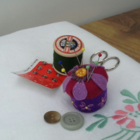 Mini Pin Cushion - Purple Clematis
