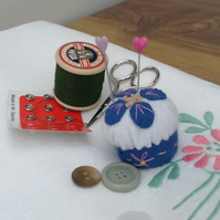 Mini Pin Cushion, Borage