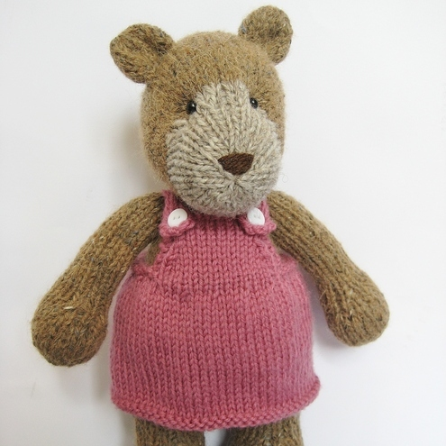 Teddy bear knitting pattern with dress and dung... - Folksy