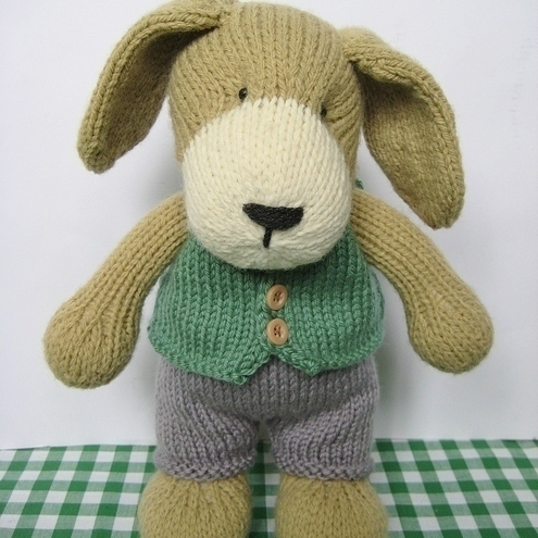 Free Knitting Pattern Toy Puppy : Puppy knitting pattern with waistcoat and trousers - Folksy