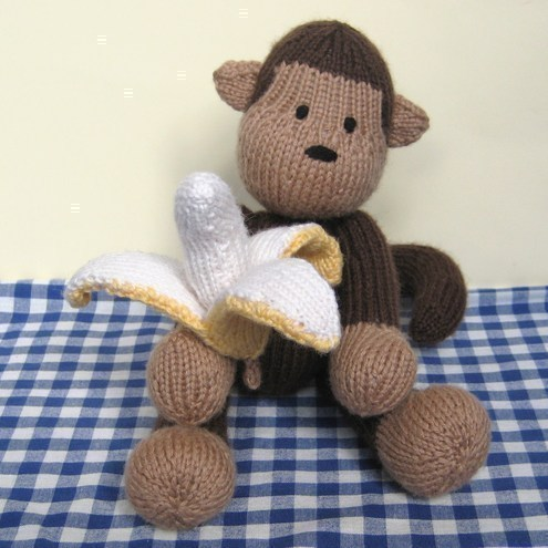 Norwood Monkey and bananas toy knitting patterns - Folksy
