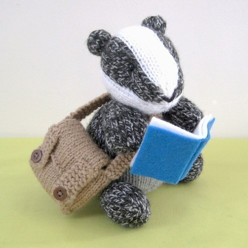Brompton Badger with satchel and school books Knitting Pattern PDF