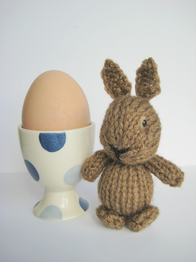 Egg Cup Bunny mini toy knitting pattern - Folksy
