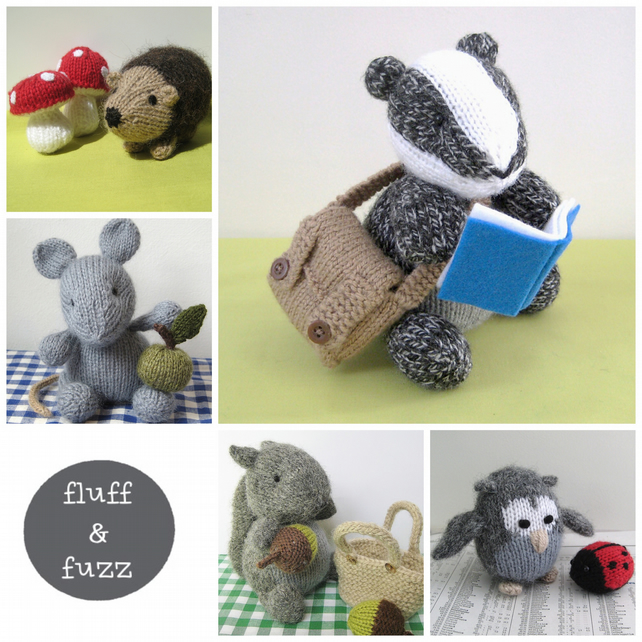 5 toy animal knitting patterns, badger, owl, sq... - Folksy