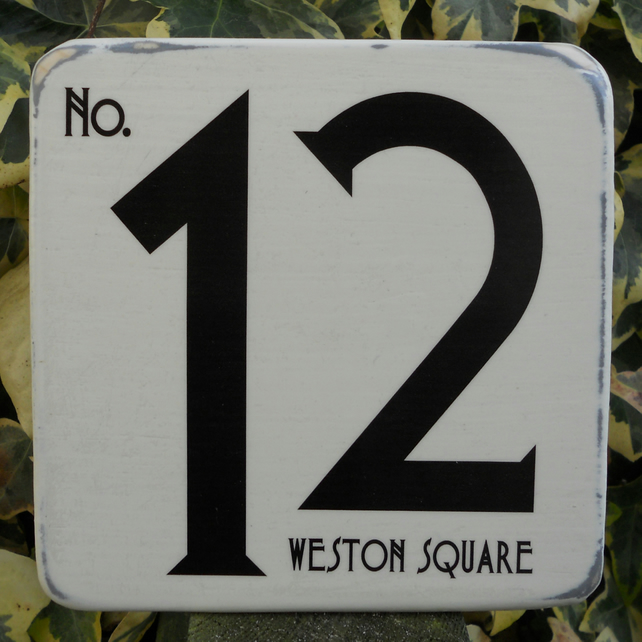 House Number Art Deco Plaque Shabby Chic Hand Made To Order