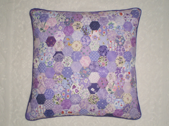 Patchwork Cushion Cover -  Hexagons in Shades of Lilac