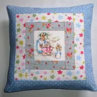 Patchwork Cushion: Beatrix Potter's Mrs Rabbit with Cath Kidston Fabrics
