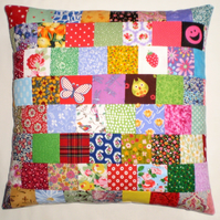 "Patchwork Cushion Cover in Bright Retro Fabrics - to fit 16"" Inner Pad"
