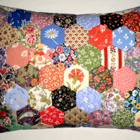 Patchwork Cushion -  Hexagons in vintage Laura Ashley Fabrics.