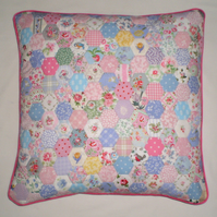 Patchwork Cushion Cover -  Hexagons in Laura Ashley and Cath Kidston Fabrics