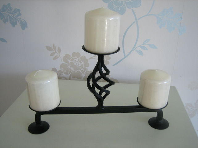 "Candle Holder - Hand Crafted Wrought Iron ""The Windsor"""
