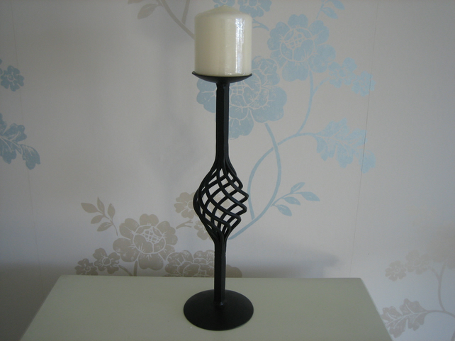 "Candle Holder - Hand Crafted Wrought Iron ""The York"""