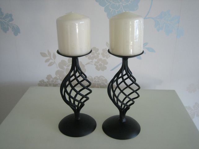 "Candle Holder - Hand Crafted Wrought Iron ""Harlech"" Pair"