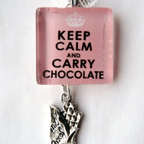 Keep Calm & Carry Chocolate Necklace