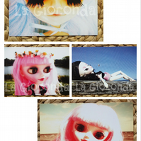 Photography art prints set of 4 prints on card of Tangkou doll.