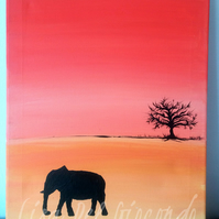 Original Acrylic Painting. Painting of elephant.  African painting. Elephant.